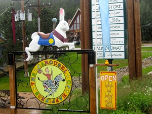 A rabbit on carousel sign