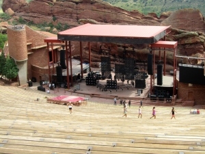 Humans get exercise at Red Rocks