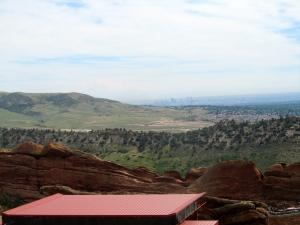 Denver skyline over top of Red Rocks stage