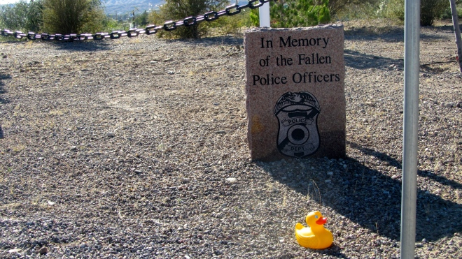 Markers for fallen police and fallen firefighters