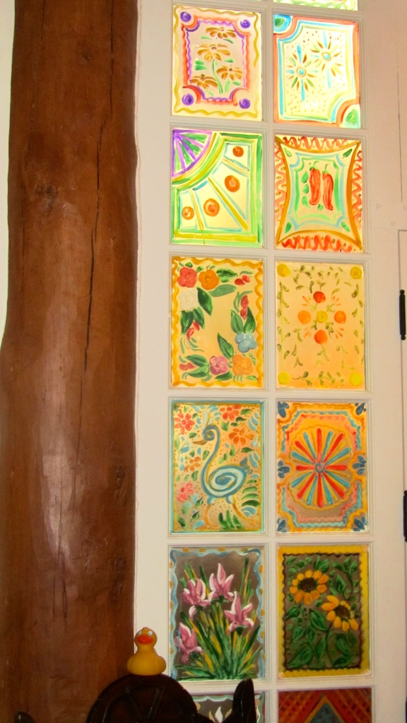 painted windows at La Fonda