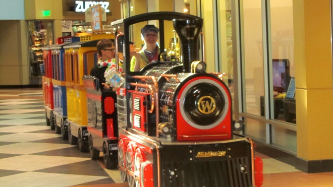 A train in the mall.  This is fantastic!