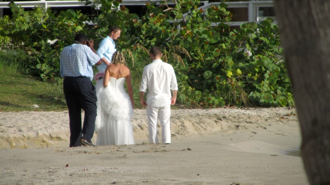 Preparing for wedding on our beach