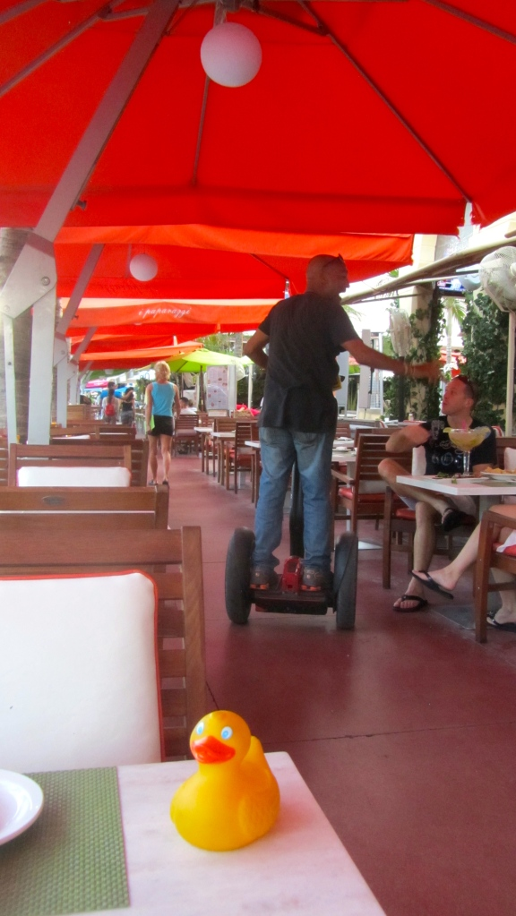 Man riding  Segway in our restaurant