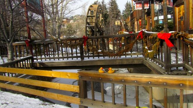 Estes Park, Colorado.  River is frozen