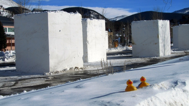 Snow blocks ready for the artists