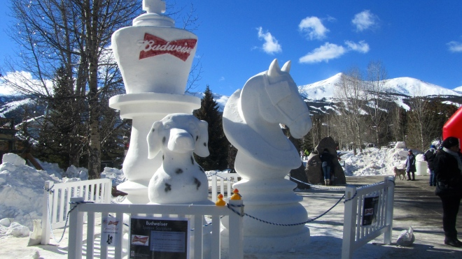 Budweiser snow sculpture with Spuds