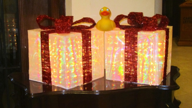 Wrapped gifts in our hotel lobby.  For Zeb?