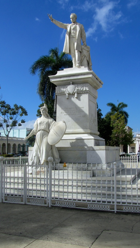 Jose Marti and Zeb the Duck in Cienfuegos, Cuba