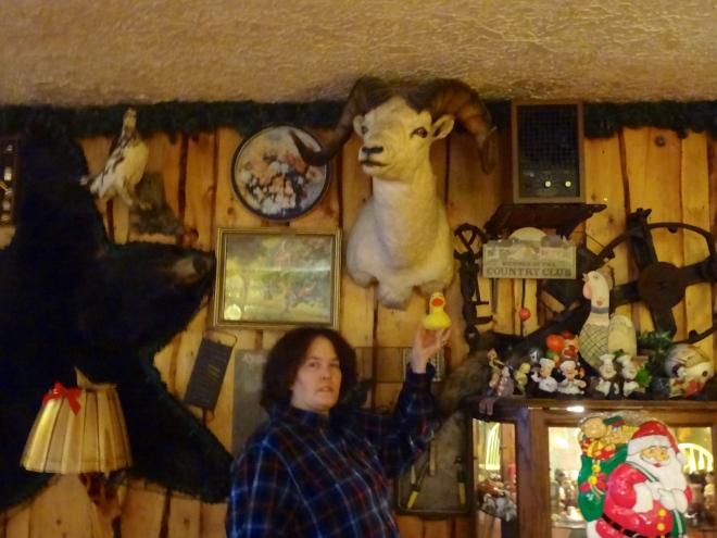 Cindy holding Eider near dall sheep