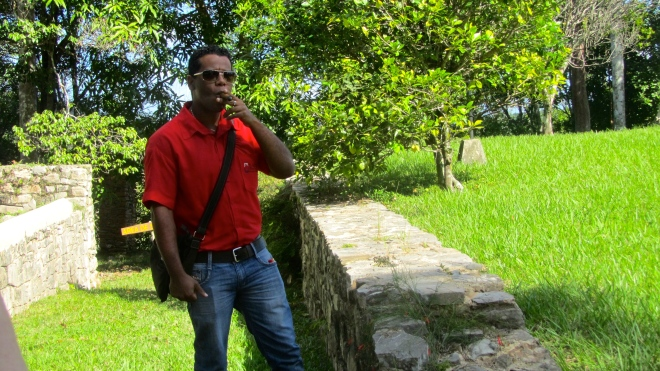 Alejandro, our local guide, enjoying a Cuban cigar.