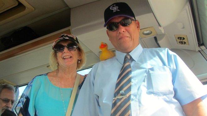 Connie our Friendly Planet guide and Santos our driver with Zeb the Duck