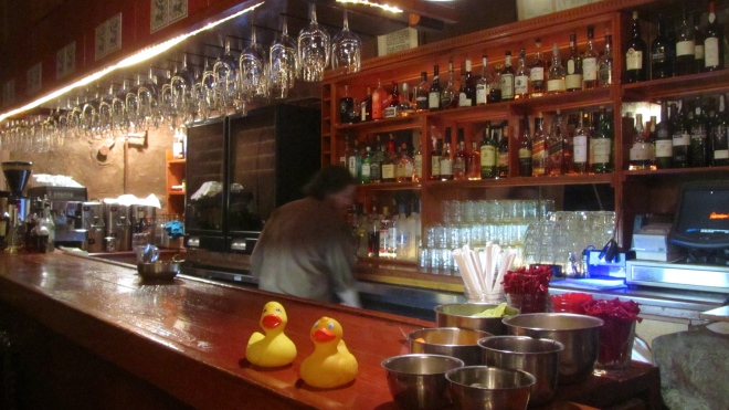 Ducks at the bar