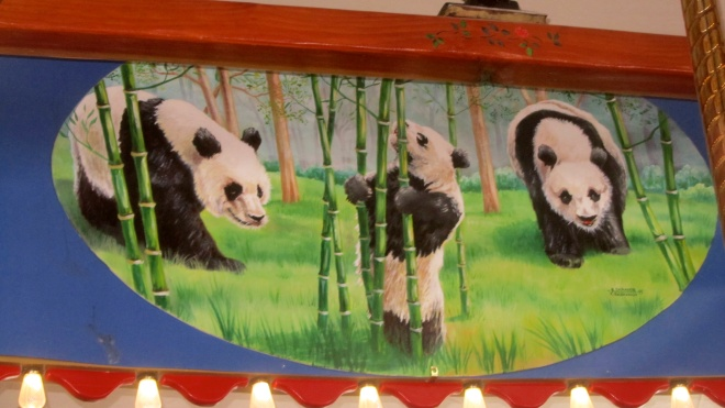 Painted pandas on the walls