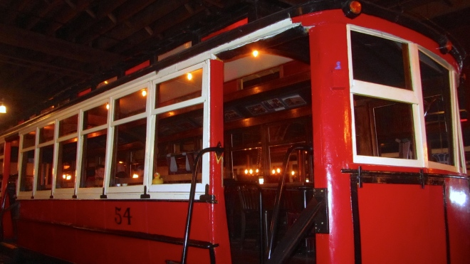 Cable car inside the restaurant