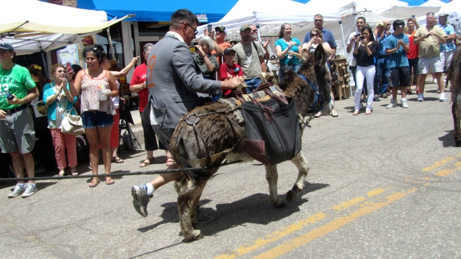 This donkey is running with the human