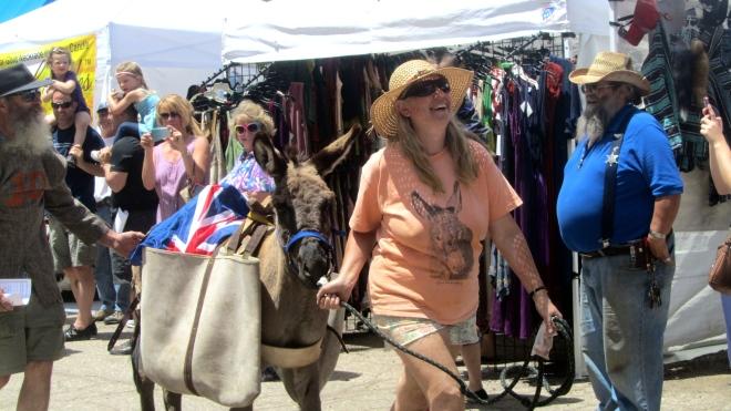 She is leading donkey toward the finish line