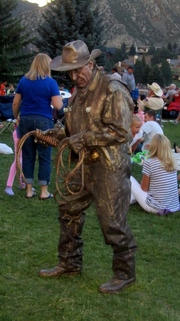 A human bronze statue