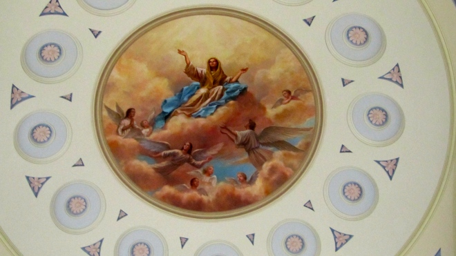 Painted on the ceiling