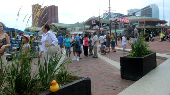 Many people enjoying the Inner Harbor