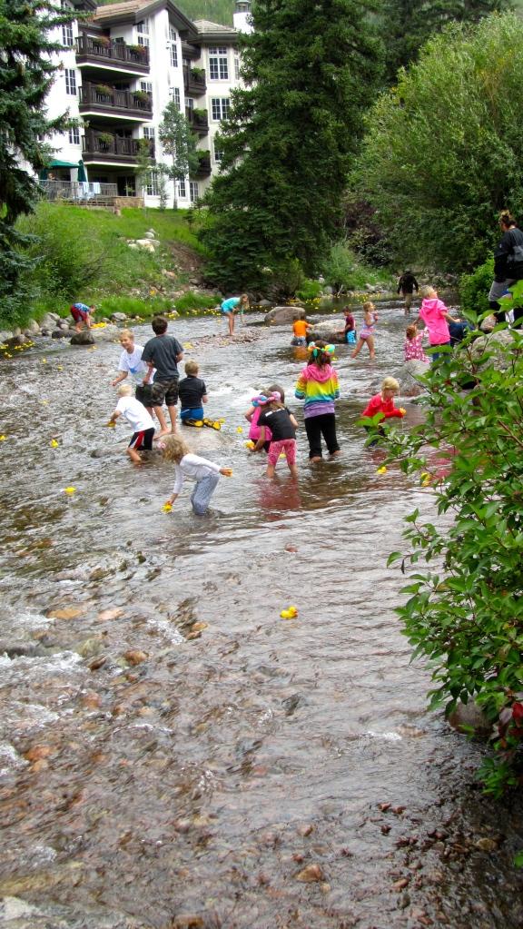 Ducks racing on Gore Creek