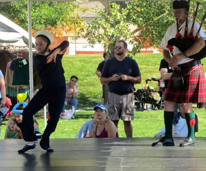 Sailor dancing to bagpipe music