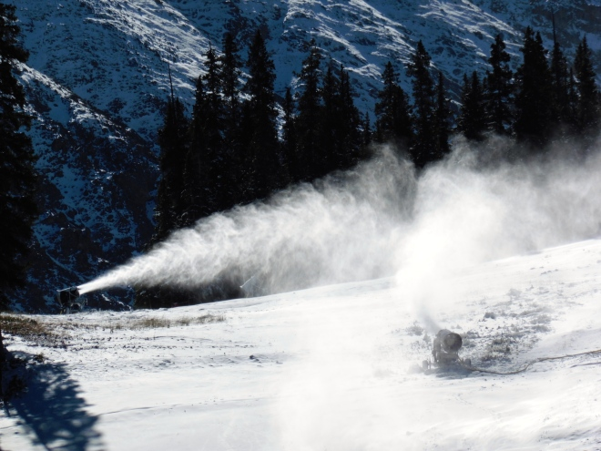 Snow gun at work