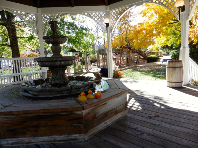 Looking from the gazebo to play area in front yard