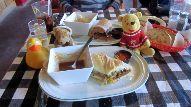 Zeb, Channel and Winnie with lunch