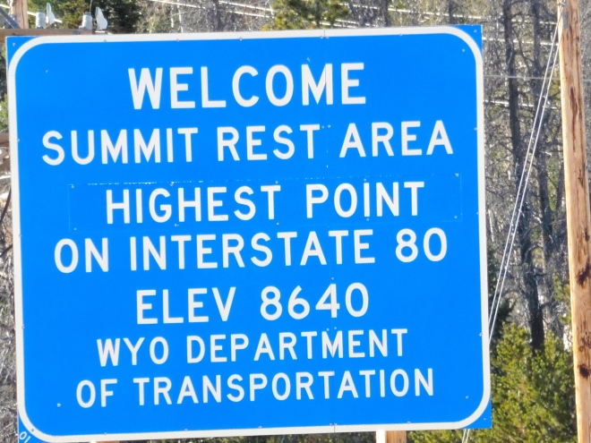 Highest point on I-80 at 8640 feet