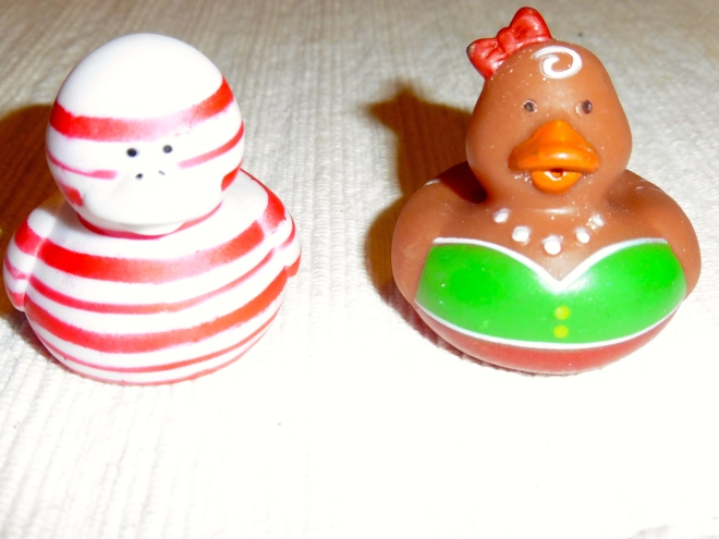 Meet Candy Cane Duck and Gingerbread Duck