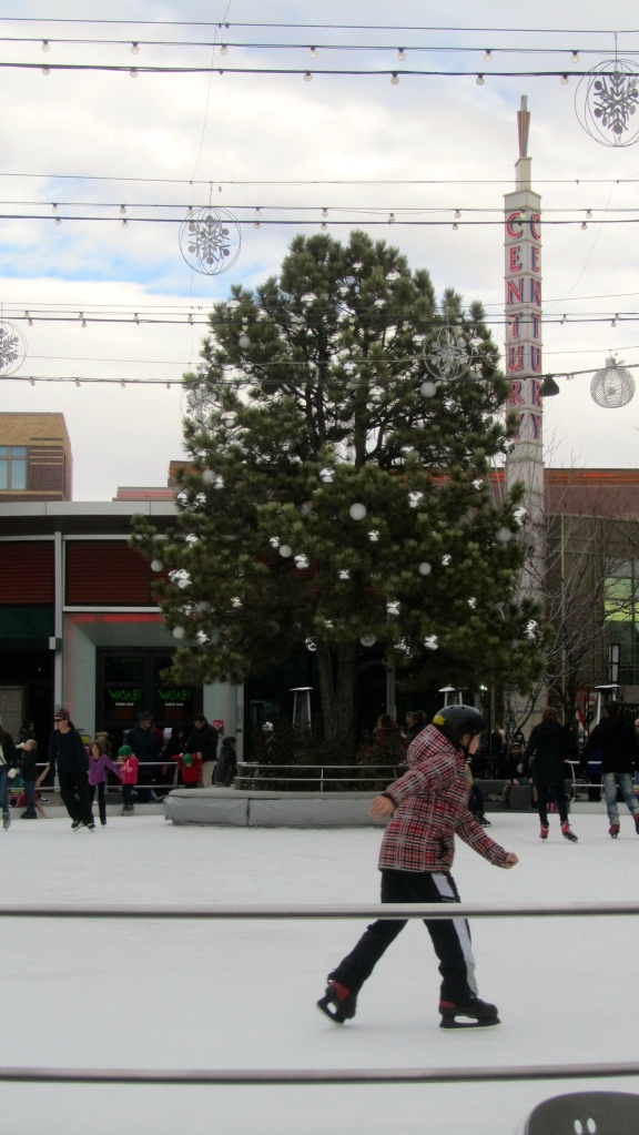 Big Christmas tree with ice skater