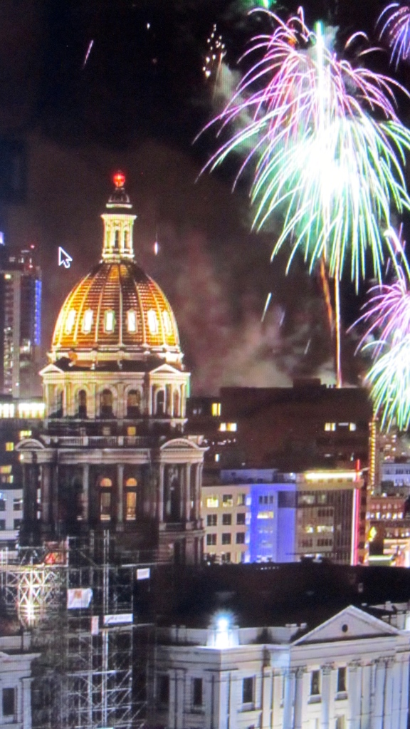 Celebrating the arrival of 2014 near Denver's capitol building