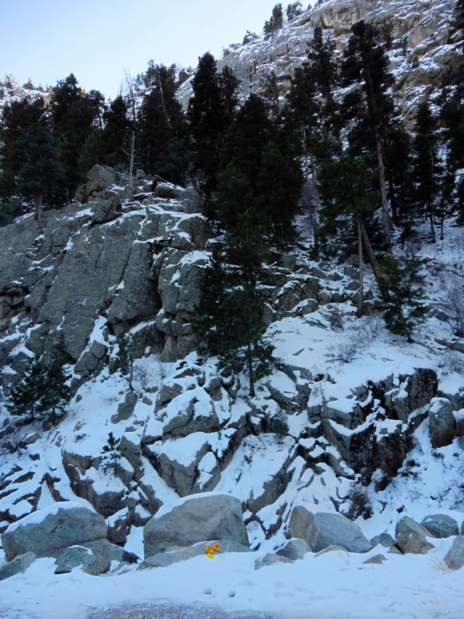 Canyon wall of rock with snow