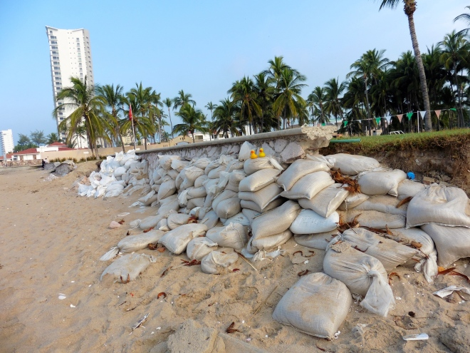 Sand bags to protect resort.