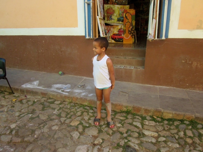 Nice boy and love the cobblestone street