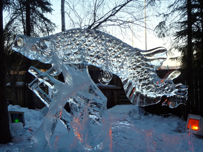 This is carved from ice.  Wow!