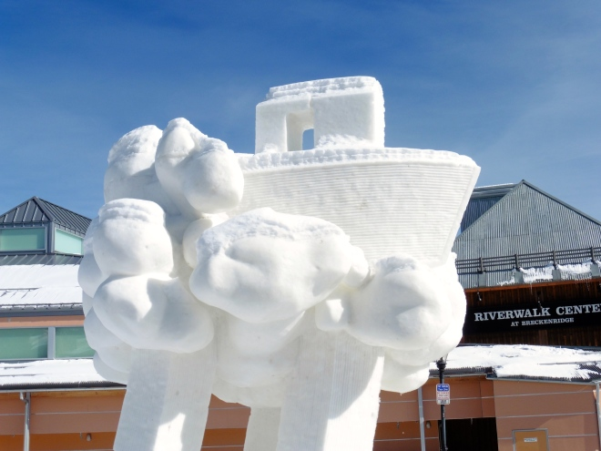 Close up of the ark on winning snow sculpture