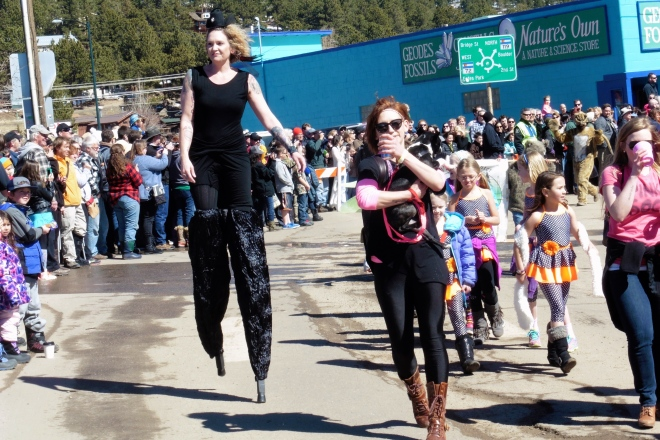 She can walk on stilts!