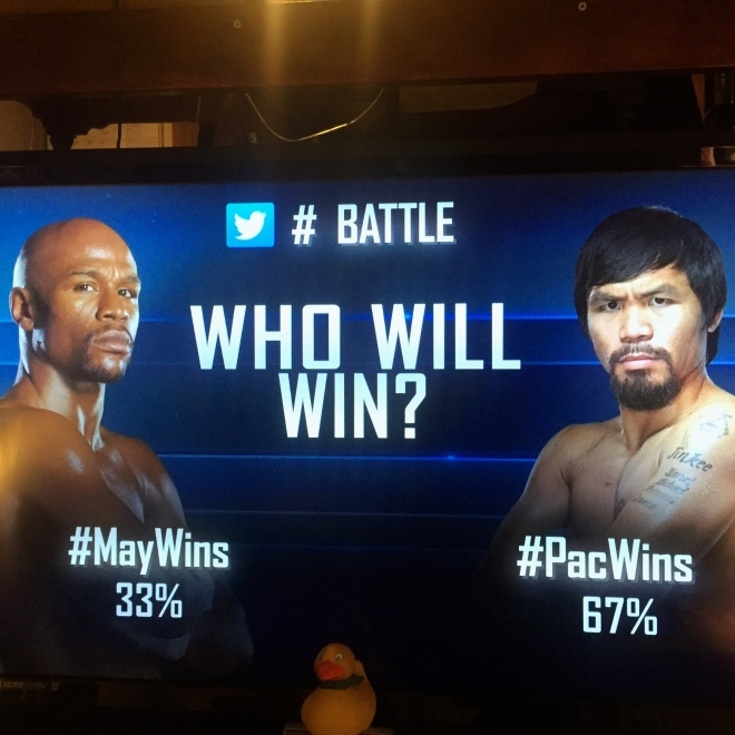 Pacquiao favored by many.  Mayweather favored by Las Vegas