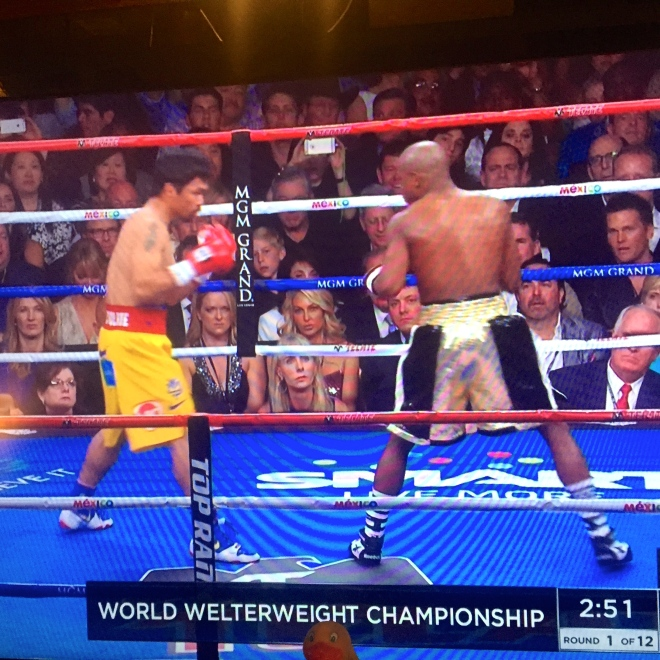 Round One.   The spectators and officials decided this round is Mayweather's.