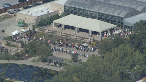 Long lines to enter Denver Botanical Gardens