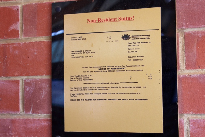 Certificate of non resident status from Australia