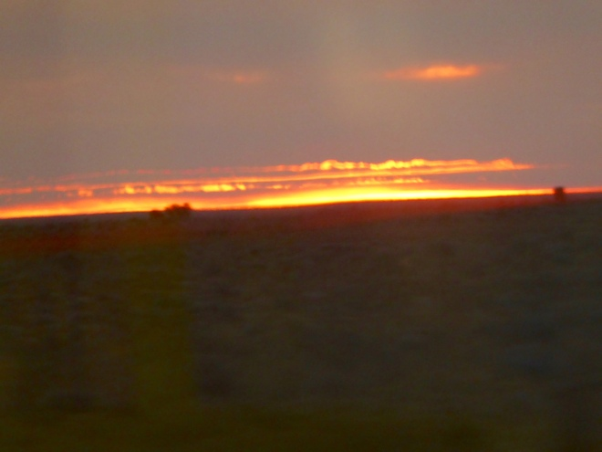 Sun going down on Nullarbor Plain