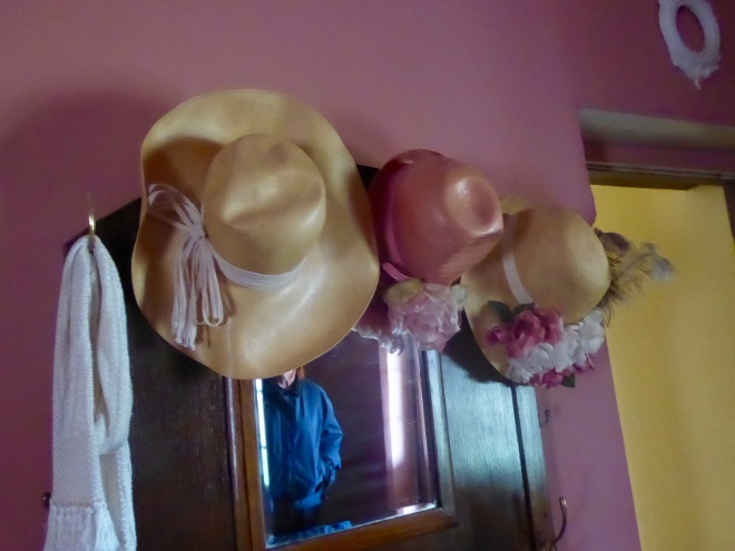 Former lady's bedroom with hat collection