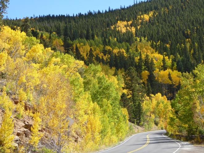 Driving we appreciate the colors and the vivid blue Colorado sky