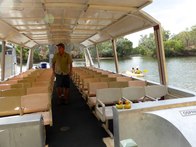 On the boat to tour Katherine Gorge