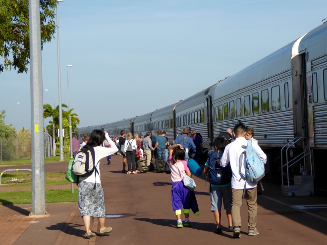 Many people boarding the Ghan