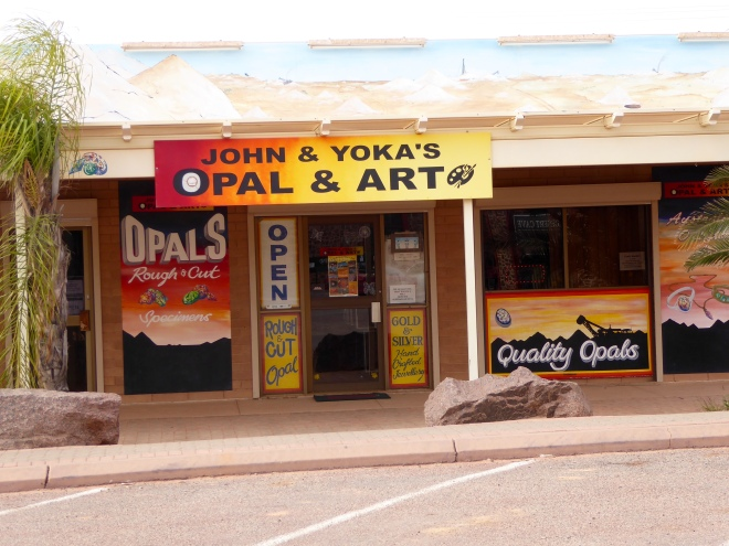 One of several small opal shops lining the street in Coober Pedy