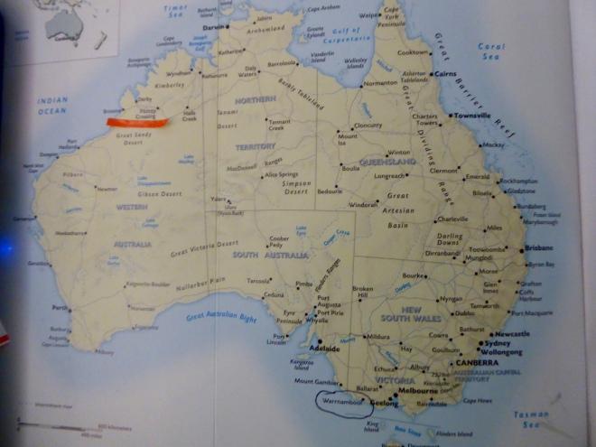 Orange line below Broome and Fitzroy Crossing